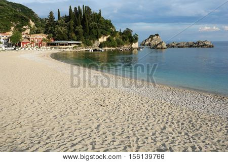 Parga GREECE May 09 2013: View on the beach and bay of Sivota town on the coast of Ionian sea Greece.