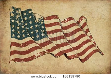 Us Wwi-wwii (48 Stars) Grunge Flag Textured Background Wallpaper