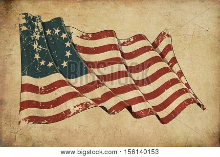 Usa Betsy Ross Grunge Flag Textured Background Wallpaper