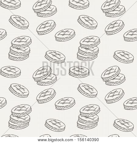 Seamless pattern of double cookies with a layer of cream, sweets or pastilles. Treats for tea, decoration for cloth, paper or site.