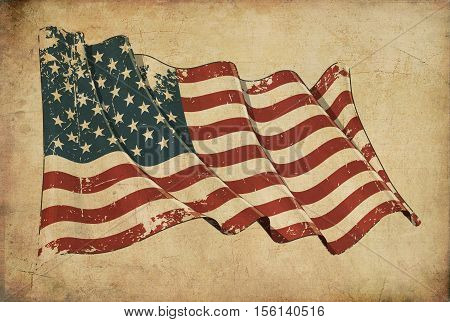American Grunge Flag Textured Background Wallpaper