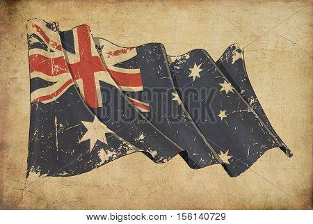 Australian Grunge Flag Textured Background Wallpaper.