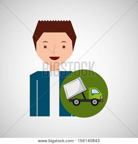 cute boy recycle ecology icon garbage truck vector illustration eps 10
