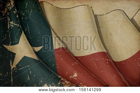 Texan Flag Old Paper.