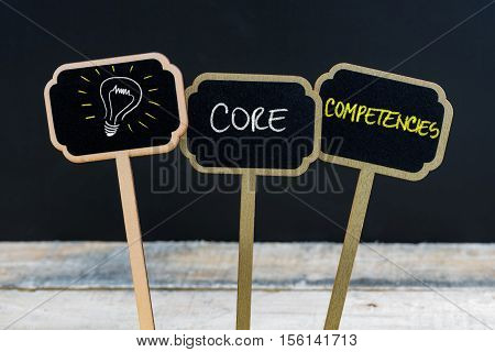 Concept Message Core Competencies And Light Bulb As Symbol For Idea