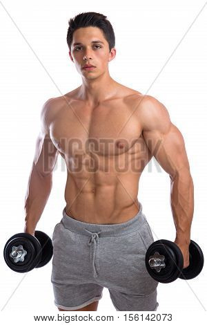 Bodybuilder Bodybuilding Muscles Body Builder Building Strong Muscular Young Man Dumbbells Training