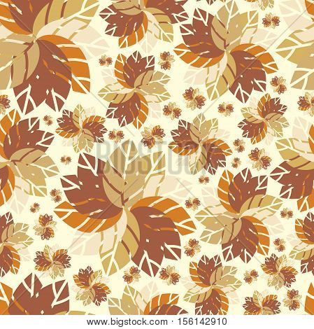 Beautiful retro pattern. Seamless pattern. Flowers. Bright leaves. Foliage for greeting cards, posters. Flower shop. Seamless vintage flower pattern vector. Retro pattern, colors. Autumn pattern.