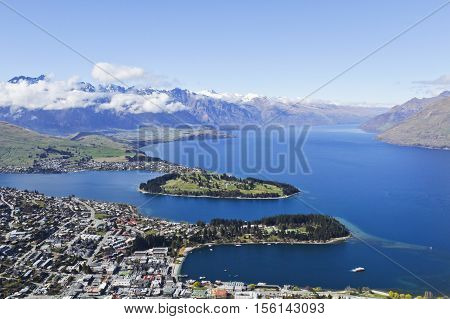 View of Queenstown Lake Wakatipu and The Remarkables Central Otago New Zealand