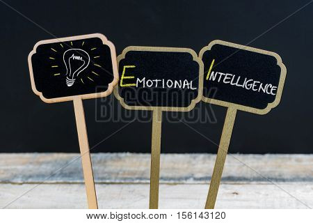 Concept Message Emotional Intelligence And Light Bulb As Symbol For Idea