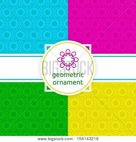 Set of seamless patterns. Stylized lace ornament. Simple geometric background. Ethnic background. Mandala. Indian ornament Vector work for flayers, menus, packaging, advertising, cafes and restaurants