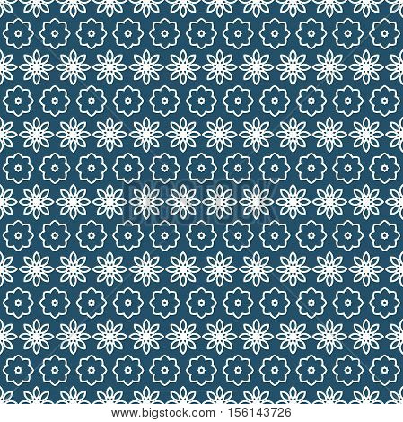 Celebratory background for Merry Christmas and New Year. Greeting card. Seamless pattern of Christmas snowflake and flowers. Celebratory bright background. Mazarine pattern, white ornament for holiday