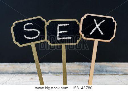Text Sex Written With Chalk On Wooden Mini Blackboard Labels