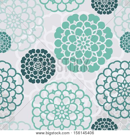 Seamless floral pattern with decorative roses. Retro print. Vintage pattern. Flower pattern. Big Bud. A large flower, mall petals. Pattern in blue, green colors. Bright floral pattern, ornament, print