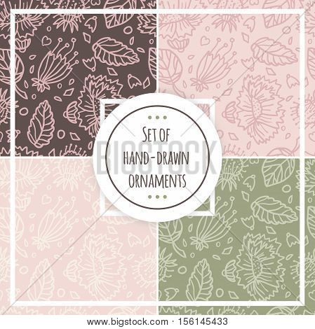 Set of floral patterns. Beautiful, light floral pattern. Seamless background. Retro background. Seamless retro pattern. Floral pattern, ornament, pattern. Hand drawing pattern. Set of pastel pattern.