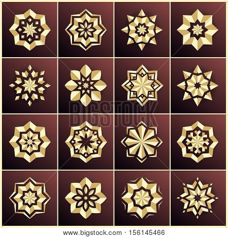 Set of golden snowflakes. Set of gold stars. The bulk of the star. Large set. Christmas snowflakes. Holiday decorations. Volumetric golden snowflake on a dark background. Christmas star. Mandala.