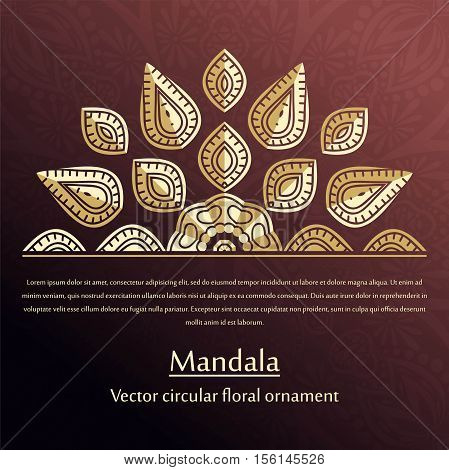 Volumetric golden snowflake on a dark background. Golden mandala. Holiday card. Gold. Mandala. Vintage decorative elements. Islam, Arabic, Indian, ottoman motifs. Stylized flowers. Place in the text