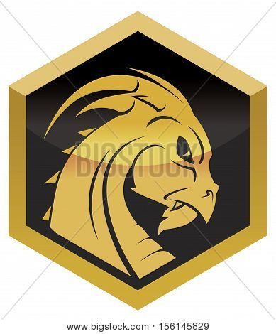 locket with a gold dragon's head vector