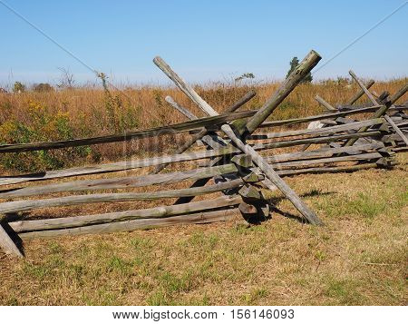 simple wood fence near the battlefield in Gettysburg Pennsylvania