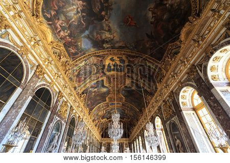 VERSAILLES FRANCE - JUNE 20 Interior Chateau of Versailles Versailles France on june 20 2014. Palace Versailles was a Royal Chateau-most beautiful palace in France and word.