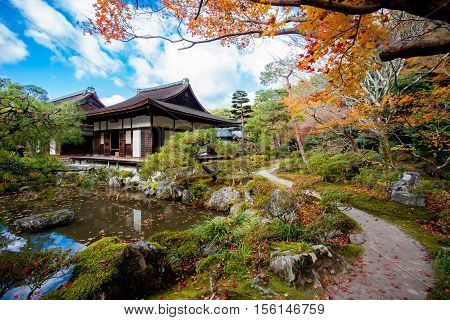 Ginkaku-ji the Temple of the Silver Pavilion is a Zen temple in the Sakyo ward of Kyoto Japan
