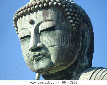 A big outdoor bronze stature in Kamakura, Kanagawa, Prefecture, Japan