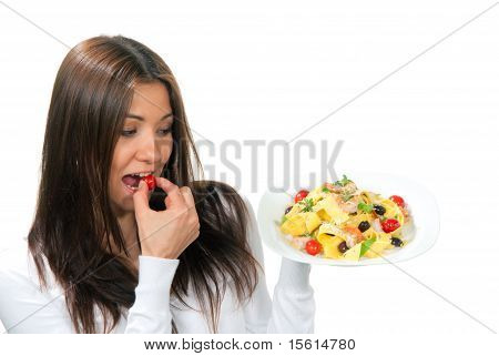 Woman Hold Plate Of Diet Italian Shrimp Penne Pasta