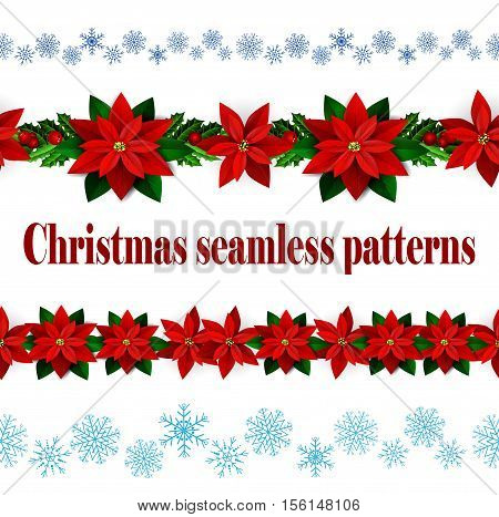 Set of n Seamless borders Bright Fun Christmas Winter Holidays Patterns with poinsettia and green holly and berries and snowflakes