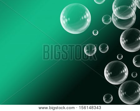 Green White Abstract Gradient Floating Bubble Background