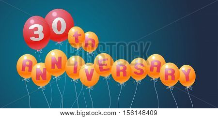 30 years anniversary vector illustration banner flyer logo icon symbol invitation. Graphic design element with air balloons for 30th anniversary birthday card celebration decoration