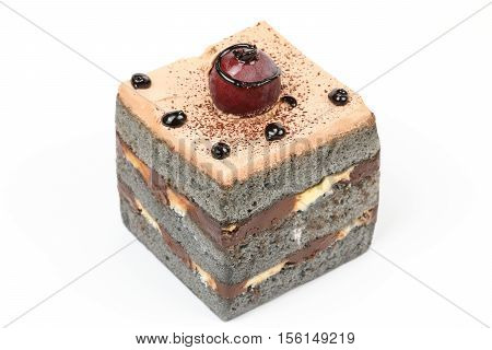 Black brownie chocolate cake pastry cream on white background
