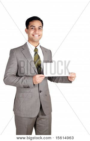 Indian Business Man Holding A Name Card.