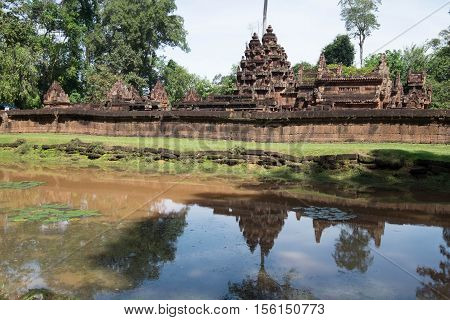 Banteay Srei is a ancient temple of Khmer Siem Reap Cambodia.