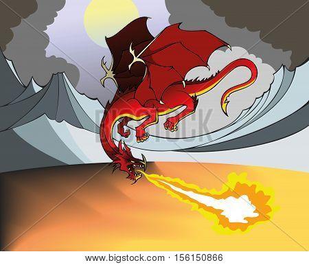 Flying Dragon breathing out fire, dismal landscape, vector illustration
