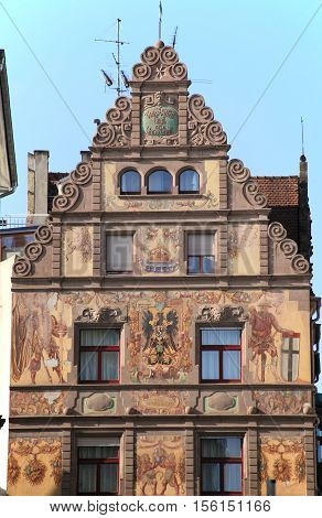 Constance, GERMANY - Nov 13, 2015: Frescoed house in the old town of Constance in Germany on Nov 13, 2015. Constance is one of the most visited cities on Lake Constance.