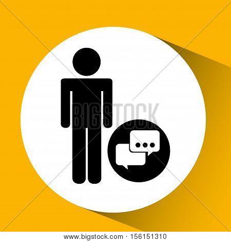 silhouette man bubble speech social network design vector illustration eps 10
