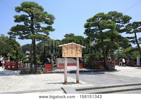 KAMAKURA, JAPAN - AUGUST 5, 2015: Historic temple garden on August 5, 2015 in Kamakura, Japan. Kamakura is famous for its Japanese historic temples.