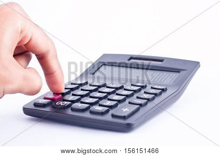 finger hand put button calculator for calculating the numbers accounting accountancy business   on white background  isolated
