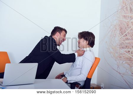 Two angry business colleagues during an argument.