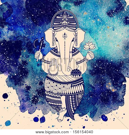 Ganesha or Ganapati Indian deity in the Hindu. On watercolor paint background illustration for design of prints web festive Chaturthi invitations.