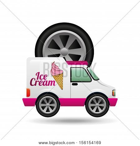 icecream truck and wheel icon design vector illustration eps 10