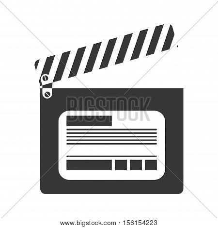 silhouette of cinema clapboard icon over white background. vector illustration