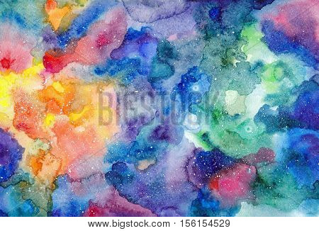 Watercolor multicolored bright texture cosmic space background