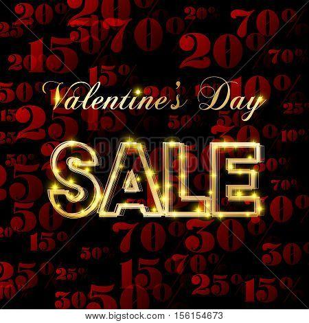 Valentines day sale. Poster or banner design. Vector illustration.