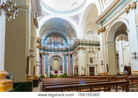 Alcalali, Spain - August 18, 2016: Highly decorative interior Saint Maria  church in village Alcalali  typically historic Mediterranean design and style Spain.
