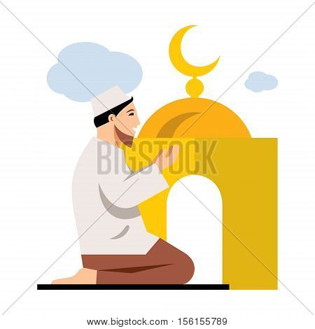 A man on his knees raises his hands to heaven in prayer. Isolated on a white background