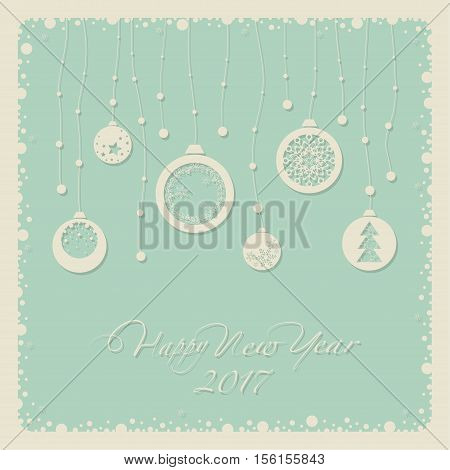 Cover design for the new year. Depicts Christmas decorations with symbols of the new year:Christmas tree, snowflake. The phrase happy new year and number 2,0,1,7.