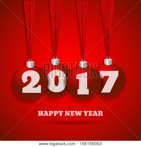 New Year Red Background With Red Balls  Bg Eps 10 Vector Illustration