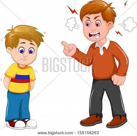 cartoon Father scolding his son for you design