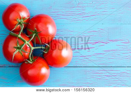 Five Hydroponic Tomatoes On Stem With Copy Space