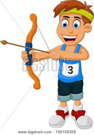 funny boy cartoon sports archery for you design
